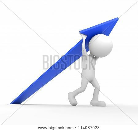 White 3D Human Lifting A Blue Arrow