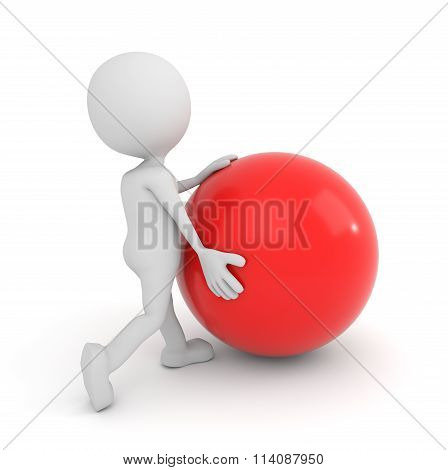 White 3D Human Pushes Sphere