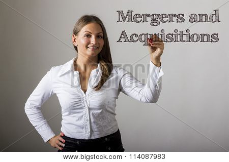 Mergers And Acquisitions - Beautiful Girl Writing On Transparent Surface
