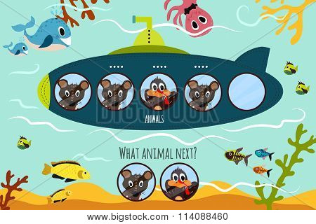 Cartoon Vector Illustration Of Education Will Continue The Logical Series Of Colourful Animal