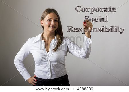 Corporate Social Responsibility Csr - Beautiful Girl Writing On Transparent Surface