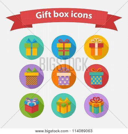 Vector Gift box colorful icons set