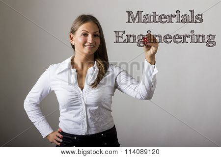 Materials Engineering - Beautiful Girl Writing On Transparent Surface