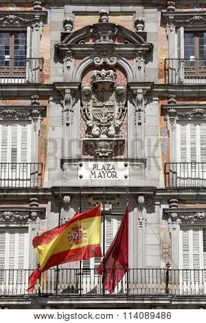 MADRID, SPAIN - September 17, 2015: Detail of Historic tenement house facade Casa de la Panaderia (Bakery House, 1619 now municipal and cultural building) Plaza Mayor.