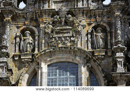 SANTIAGO DE COMPOSTELA, SPAIN â?? September 14, 2015: Facade of Cathedral of Santiago de Compostela, one of the most important Christian pilgrimage places