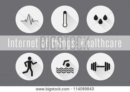 Internet of Things, IoT- Healthcare. Set of 6 flat icons. Vector Illustration.