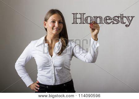 Honesty - Beautiful Girl Writing On Transparent Surface
