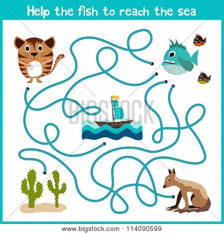 Cartoon Of Education Will Continue The Logical Way Home Of Colourful Animals.help Take The Fish Home
