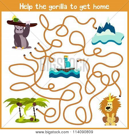 Cartoon Of Education Will Continue The Logical Way Home Of Colourful Animals.help Me Get The Gorilla