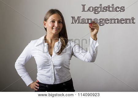 Logistics Management - Beautiful Girl Writing On Transparent Surface