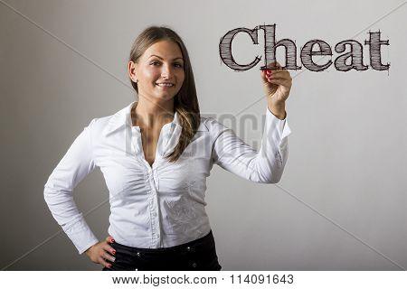 Cheat - Beautiful Girl Writing On Transparent Surface