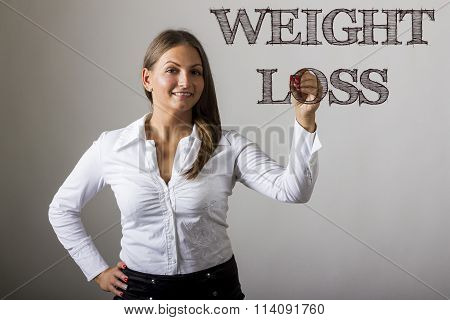 Weight Loss - Beautiful Girl Writing On Transparent Surface