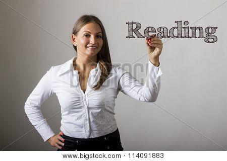 Reading - Beautiful Girl Writing On Transparent Surface