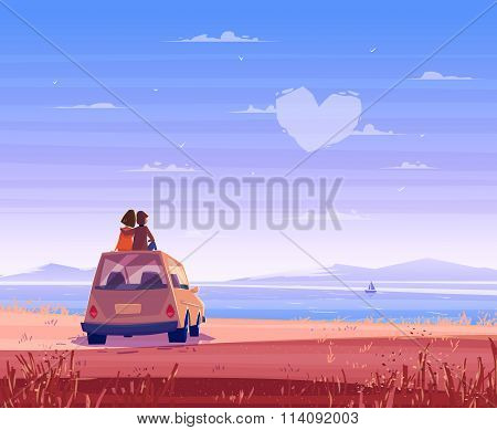 Boy and girl look over the sea. Romantic day. Vector cute illustration.