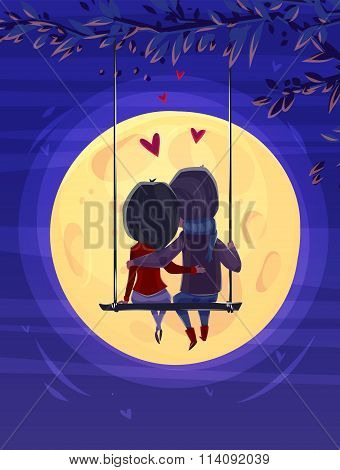 Boy and girl looking at the moon. Romantic night.. Vector cute illustration.