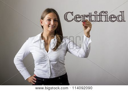 Certified - Beautiful Girl Writing On Transparent Surface