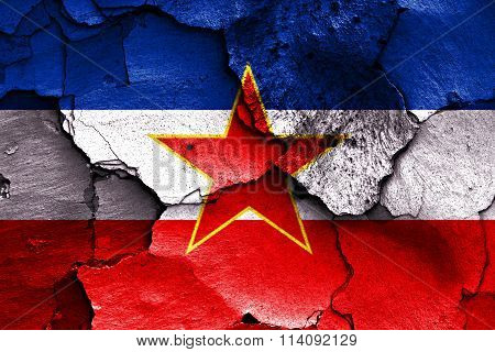 Flag Of Yugoslavia Painted On Cracked Wall
