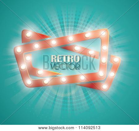 Old Cinema Banner With Light Bulbs. Vector Cinema Background.