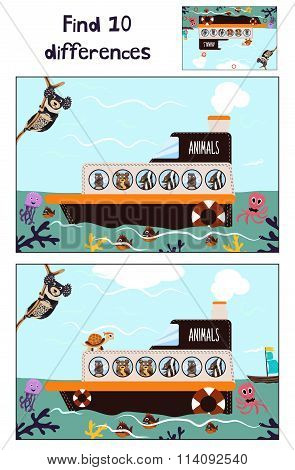 Cartoon Of Education To Find 10 Differences In Children's Pictures Of The Boat With The Animals
