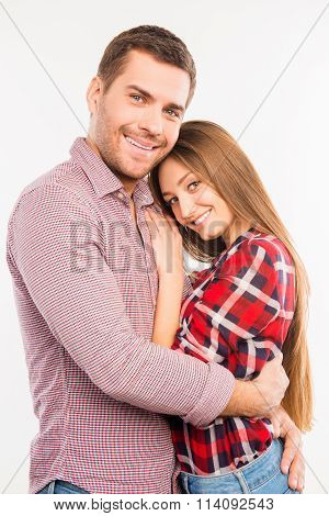 Happy Couple In Love Embracing Each Other, Close Up Photo