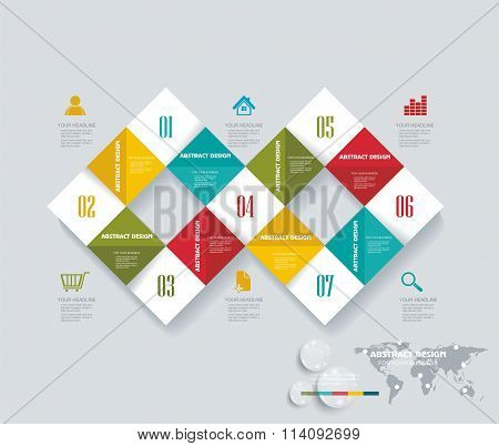 Modern Infographics Set With Rhombus Abstract 3D Cells.