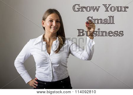 Grow Your Small Business - Beautiful Girl Writing On Transparent Surface