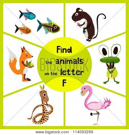 Funny Learning Maze Game, Find All 3 Cute Wild Animals With The Letter F, Pink Flamingos, Marsh Frog