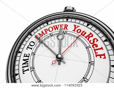 Time To Empower Yourself Red Message On Concept Clock
