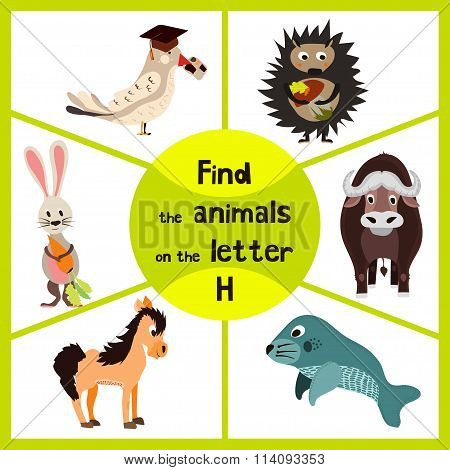 Funny Learning Maze Game, Find All Of Cute Wild Animals 3 The Letter H, Forest Hedgehog And The Hare