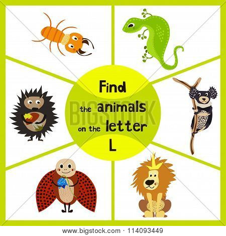 Funny Learning Maze Game, Find All 3 Cute Wild Animals With The Letter L, Desert Lizard, The Lion Of