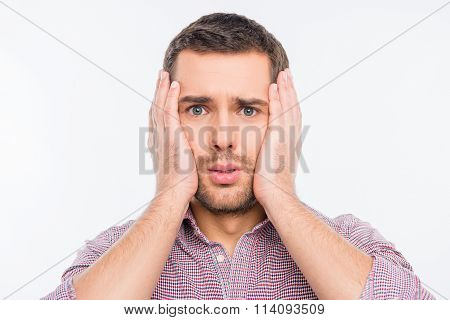 Concerned Man Touching His Face