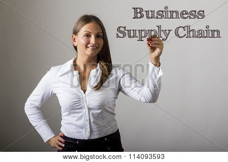 Business Supply Chain - Beautiful Girl Writing On Transparent Surface