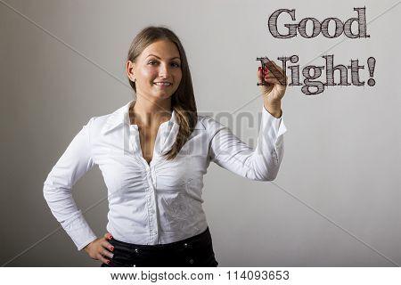 Good Night! - Beautiful Girl Writing On Transparent Surface