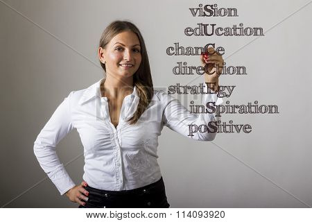Vision Education Chance Direction Strategy Inspiration Positive Success - Beautiful Girl Writing On