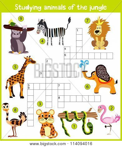 A Colorful Children's Cartoon Crossword, Education Game For Children On The Theme Of The Study O