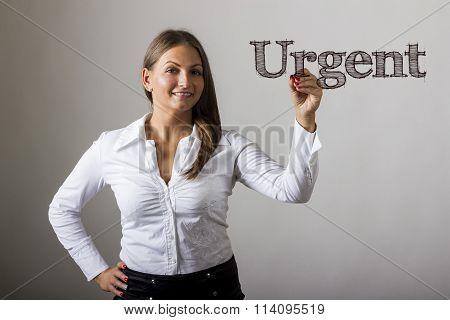 Urgent - Beautiful Girl Writing On Transparent Surface