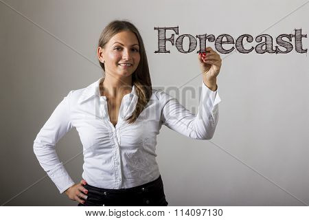 Forecast - Beautiful Girl Writing On Transparent Surface