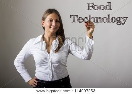 Food Technology - Beautiful Girl Writing On Transparent Surface