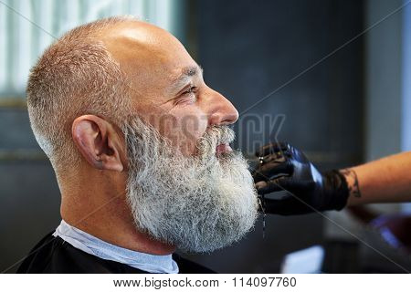 sideview portrait of smiley grey-haired man in barber shop. barber cutting beard with scissors