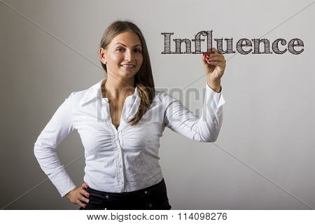 Influence - Beautiful Girl Writing On Transparent Surface