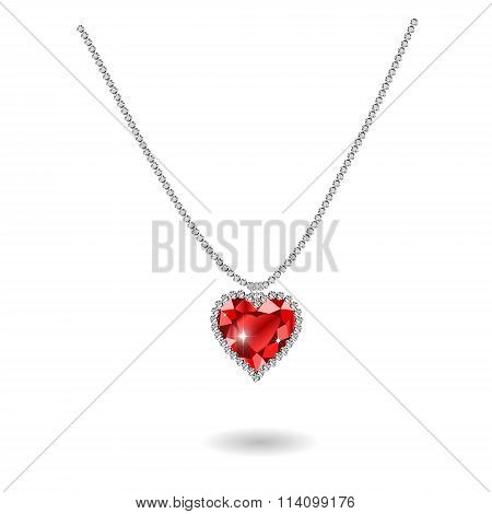 Beautiful gemstone red ruby heart