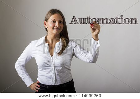 Automation - Beautiful Girl Writing On Transparent Surface