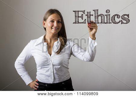 Ethics - Beautiful Girl Writing On Transparent Surface