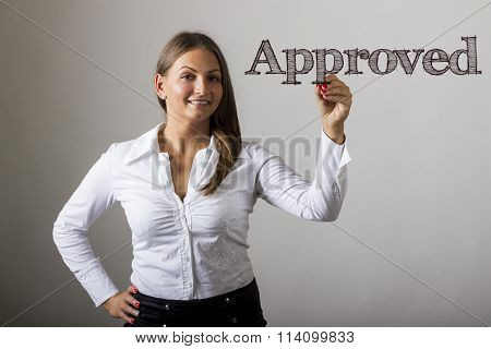 Approved - Beautiful Girl Writing On Transparent Surface