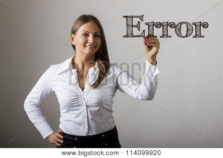 Error -  Beautiful Girl Writing On Transparent Surface