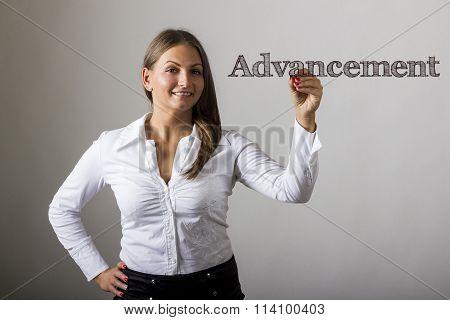 Advancement - Beautiful Girl Writing On Transparent Surface