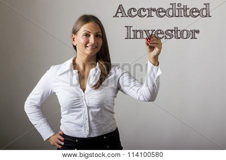 Accredited Investor - Beautiful Girl Writing On Transparent Surface