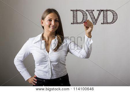 Dvd - Beautiful Girl Writing On Transparent Surface