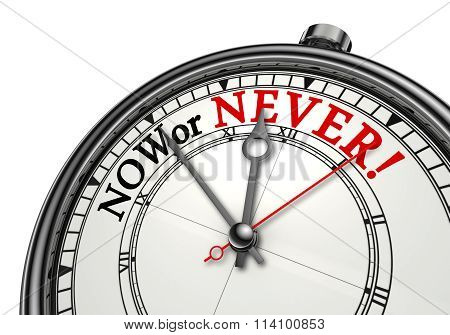 Now Or Never Concept Clock