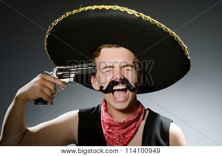 Funny guy wearing sombrero hat